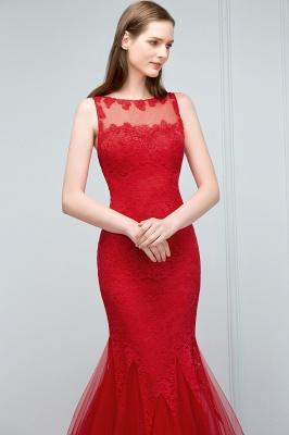 Mermaid Floor Length Illusion Neckline Sleeveless Tulle Lace Prom Dresses_8