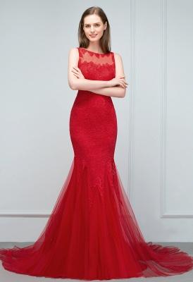 Mermaid Floor Length Illusion Neckline Sleeveless Tulle Lace Prom Dresses_5
