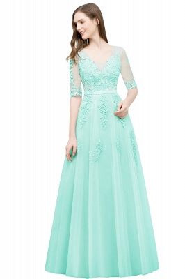 A-line Half-sleeve V-neck Floor Length Appliqued Tulle Prom Dress with Sash In Stock_8