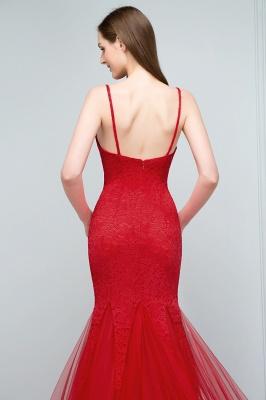 Mermaid Floor Length Illusion Neckline Sleeveless Tulle Lace Prom Dresses_7