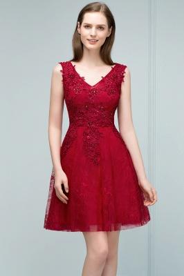 JULIA   A-line Sleeveless Short V-neck Lace Appliqued Tulle Prom Dresses_7