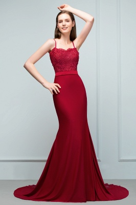 Mermaid Spaghetti Sweetheart Long Burgundy Appliques Prom Dresses with Beads_4