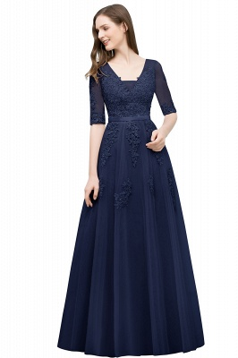 A-line Half-sleeve V-neck Floor Length Appliqued Tulle Prom Dress with Sash In Stock_6