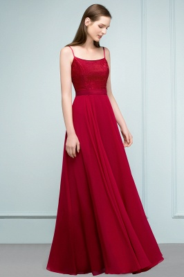 A-line Spaghetti Floor Length Lace Appliques Prom Dress In Stock_9