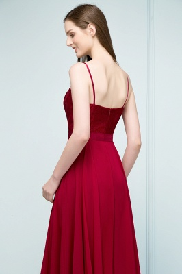 A-line Spaghetti Floor Length Lace Appliques Prom Dress In Stock_7
