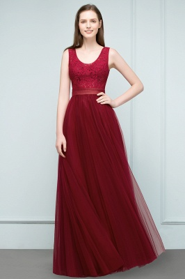 A-line Scoop Long Sleevless Lace Top Burgundy Tulle Prom Dress In Stock_5