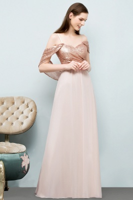 Cheap A-line Sweetheart Off-shoulder Spaghetti Long Sequins Chiffon Prom Dress in Stock_8