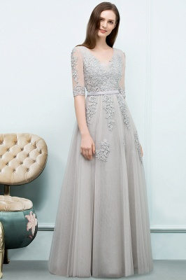 A-line Half-sleeve V-neck Floor Length Appliqued Tulle Prom Dress with Sash In Stock_9