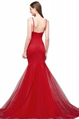 Mermaid Floor Length Illusion Neckline Sleeveless Tulle Lace Prom Dresses_3