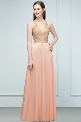 Cheap A-line Floor Length V-neck Sleeveless Appliques Chiffon Prom Dress in Stock_6