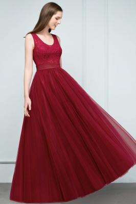 A-line Scoop Long Sleevless Lace Top Burgundy Tulle Prom Dress In Stock_4