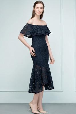 Mermaid Off-shoulder Tea Length Black Lace Prom Dresses_10