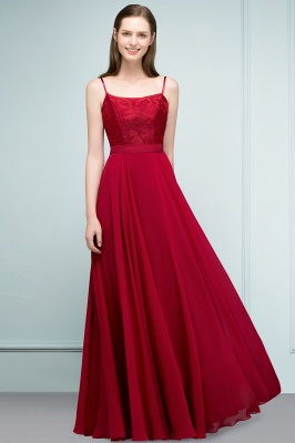 A-line Spaghetti Floor Length Lace Appliques Prom Dress In Stock_10