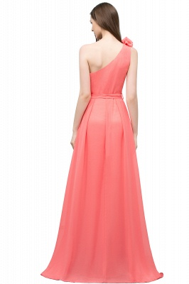 A-line One Shoulder Floor Length Chiffon Prom Dresses with Bow Sash_3