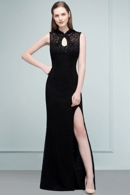 Mermaid Sleeveless Keyhole Neckline Floor Length Lace Prom Dresses with Crystals_7