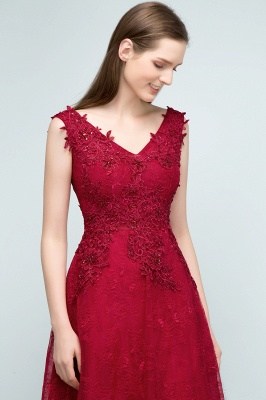 JUDITH | A-line V-neck Long Sleeveless Lace Appliques Prom Dresses with Crystals_6