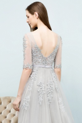 A-line Half-sleeve V-neck Floor Length Appliqued Tulle Prom Dress with Sash In Stock_16