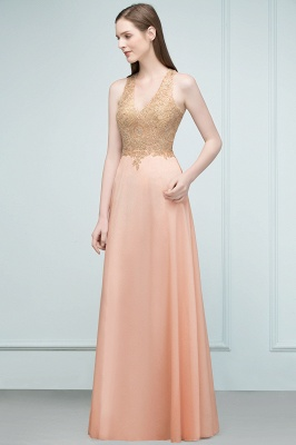 Cheap A-line Floor Length V-neck Sleeveless Appliques Chiffon Prom Dress in Stock_5