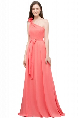 A-line One Shoulder Floor Length Chiffon Prom Dresses with Bow Sash_1