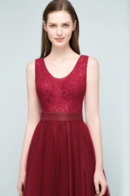 A-line Scoop Long Sleevless Lace Top Burgundy Tulle Prom Dress In Stock_6