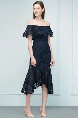Mermaid Off-shoulder Tea Length Black Lace Prom Dresses_11
