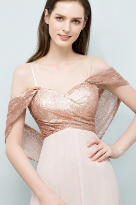 Cheap A-line Sweetheart Off-shoulder Spaghetti Long Sequins Chiffon Prom Dress in Stock_4
