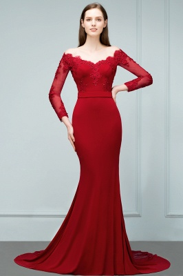 Mermaid Charmeuse Off-the-Shoulder V-Neck Long-Sleeves Floor-Length Bridesmaid Dress with Appliques_3
