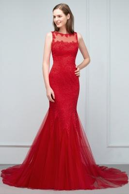 Mermaid Floor Length Illusion Neckline Sleeveless Tulle Lace Prom Dresses_9