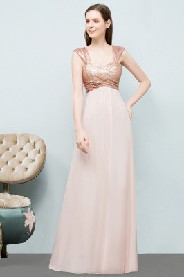 Cheap A-line Sweetheart Off-shoulder Spaghetti Long Sequins Chiffon Prom Dress in Stock_2