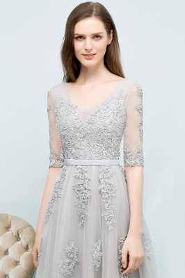 A-line Half-sleeve V-neck Floor Length Appliqued Tulle Prom Dress with Sash In Stock_15