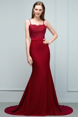 Mermaid Spaghetti Sweetheart Long Burgundy Appliques Prom Dresses with Beads_6
