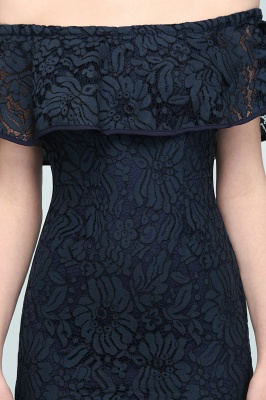 Mermaid Off-shoulder Tea Length Black Lace Prom Dresses_9