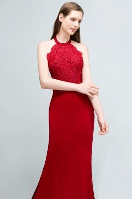 Mermaid Charmeuse Lace Halter Sleeveless Floor-Length Bridesmaid Dresses with Sash_5