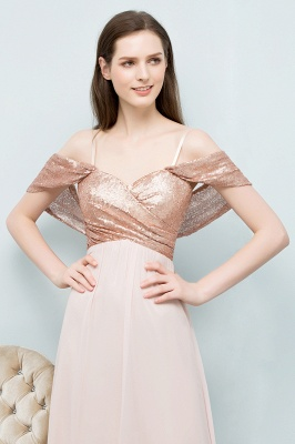 Cheap A-line Sweetheart Off-shoulder Spaghetti Long Sequins Chiffon Prom Dress in Stock_9