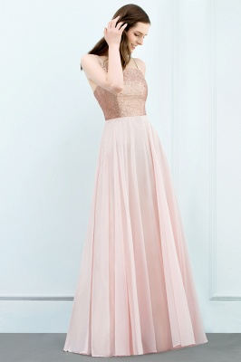 Cheap A-line Floor Length Spaghetti Sequined Top Chiffon Prom Dress in Stock_5