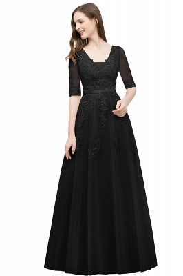 A-line Half-sleeve V-neck Floor Length Appliqued Tulle Prom Dress with Sash In Stock_7