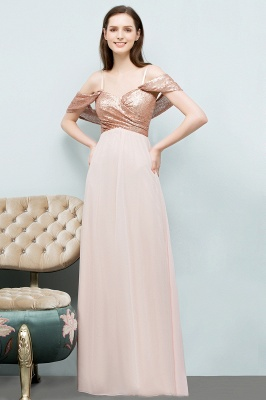 Cheap A-line Sweetheart Off-shoulder Spaghetti Long Sequins Chiffon Prom Dress in Stock_5