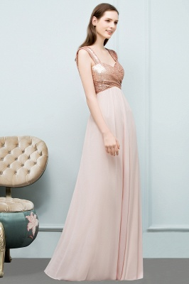 Cheap A-line Sweetheart Off-shoulder Spaghetti Long Sequins Chiffon Prom Dress in Stock_6