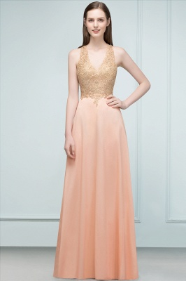 Cheap A-line Floor Length V-neck Sleeveless Appliques Chiffon Prom Dress in Stock_3
