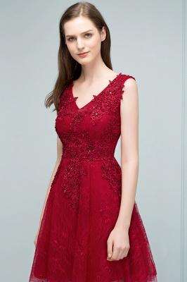 JULIA   A-line Sleeveless Short V-neck Lace Appliqued Tulle Prom Dresses_6