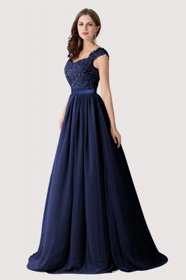 Cheap A-line V Neck Chiffon Bridesmaid Dress with Appliques in Stock_6