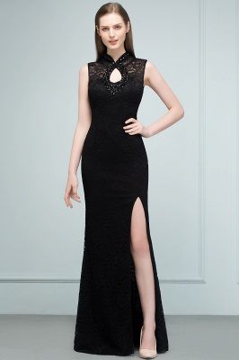Mermaid Sleeveless Keyhole Neckline Floor Length Lace Prom Dresses with Crystals_9