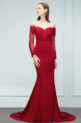 Mermaid Charmeuse Off-the-Shoulder V-Neck Long-Sleeves Floor-Length Bridesmaid Dress with Appliques_4