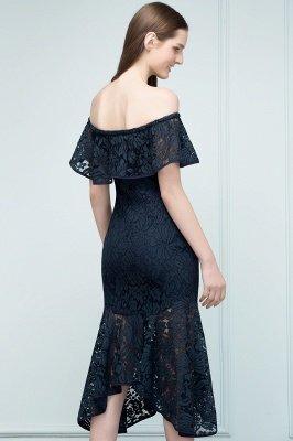 Mermaid Off-shoulder Tea Length Black Lace Prom Dresses_4