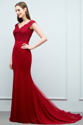 JOURNEY | Mermaid Floor Length Appliques Fitted Prom Dresses | Elegant Wedding Guest Dress