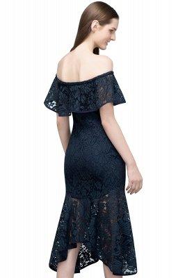 Mermaid Off-shoulder Tea Length Black Lace Prom Dresses_3