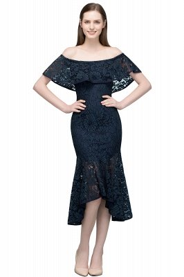 Mermaid Off-shoulder Tea Length Black Lace Prom Dresses_2