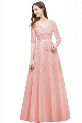 A-line Half-sleeve V-neck Floor Length Appliqued Tulle Prom Dress with Sash In Stock_2