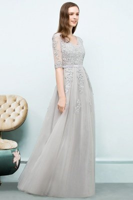 A-line Half-sleeve V-neck Floor Length Appliqued Tulle Prom Dress with Sash In Stock_13