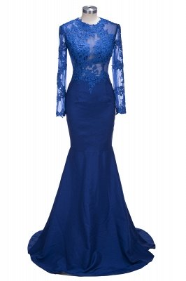 Royal-Blue Long Sheer Lace Long-Sleeves Mermaid Prom Dresses_1